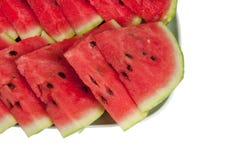 在一个大牌照的被切的ââwatermelon 库存照片