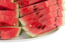 在一个大牌照的被切的ââwatermelon 免版税图库摄影