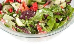 在一个大玻璃碗的菜沙拉 免版税库存照片