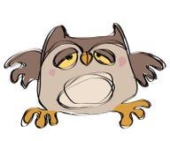 在一个天真的幼稚图画样式的动画片棕色小猫头鹰 免版税库存照片