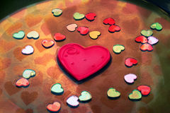 在一个夸大的心附近的一点心脏 库存图片