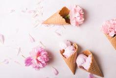 在一个奶蛋烘饼锥体的冰淇凌在轻的背景 背景奶油色冰查出的草莓白色 在奶蛋烘饼锥体的花 桃红色康乃馨 在wo的花 库存照片