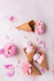 在一个奶蛋烘饼锥体的冰淇凌在轻的背景 背景奶油色冰查出的草莓白色 在奶蛋烘饼锥体的花 桃红色康乃馨 在wo的花 免版税库存照片