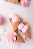 在一个奶蛋烘饼锥体的冰淇凌在轻的背景 背景奶油色冰查出的草莓白色 在奶蛋烘饼锥体的花 桃红色康乃馨 在wo的花 免版税图库摄影