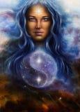 在一个妇女女神Lada的帆布的美好的油画作为上午的 库存图片