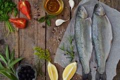 在一个委员会的两条河鳟鱼,用草本,香料、柠檬和胡椒在木板,为烹调准备 新鲜的鱼 免版税库存图片
