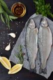 在一个委员会的两条河鳟鱼,用草本,香料、柠檬和胡椒在木板,为烹调准备 新鲜的鱼 库存图片