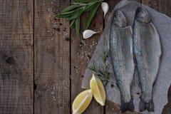 在一个委员会的两条河鳟鱼,用草本,香料、柠檬和胡椒在木板,为烹调准备 新鲜的鱼 库存照片