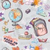在一个学校题材的无缝的纹理与背包、地球、油漆和其他项目的图象 向量例证