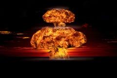 在一个室外设置的核爆炸 环境保护的符号和核能的危险 免版税图库摄影