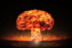 在一个室外设置的核爆炸 环境保护的符号和核能的危险 免版税库存图片