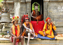 在一个寺庙的Sadhus在Sri Pashupatinath寺庙附近 库存图片