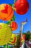 在一个寺庙装饰的中国灯笼在高雄,台湾 免版税库存图片