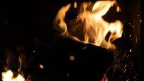 在一个小壁炉的火与退回推力 影视素材