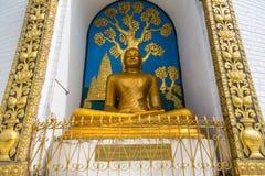 在一个小山顶的Shanti Stupa在阿南达小山在博克拉 库存图片