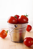 在一个小桶的蕃茄在白色背景 库存图片