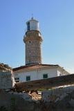 在一个小的海岛拉斯托沃岛上的灯塔 免版税图库摄影