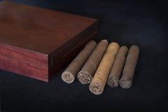 在一个小组的滚动的雪茄在黑色和雪茄盒箱子 库存图片