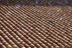 在一个屋顶的瓦片在南部的法国背景中 免版税图库摄影