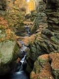 在一个山沟的平静的瀑布与秋天叶子颜色 免版税库存照片