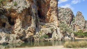 在一个峡谷的河床在马略卡 库存图片
