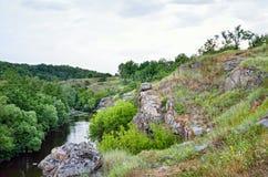 在一个峡谷的绿色树反对多云天空背景 库存图片