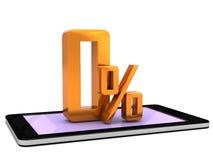 在一个巧妙的电话的绿色零的百分之 免版税库存图片
