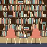 在一个巨大的书橱前面的读书位子 库存例证