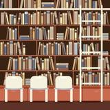 在一个巨大的书橱前面的读书位子 向量例证