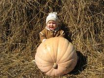 在一个巨大的南瓜后掩藏的婴孩 库存图片