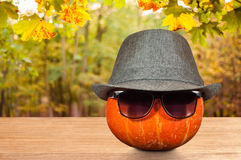 在一个帽子和太阳镜的南瓜在桌上 免版税库存照片
