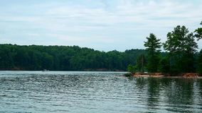 在一个平安的湖的划船 股票录像