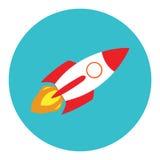 在一个平的样式的火箭队船 传染媒介在企业概念的火箭队用途在白色背景 图库摄影
