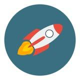 在一个平的样式的火箭队船 传染媒介在企业概念的火箭队用途在白色背景 免版税库存照片