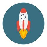 在一个平的样式的火箭队船 传染媒介在企业概念的火箭队用途 免版税库存图片