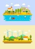 在一个平的样式的自然风景 免版税库存图片