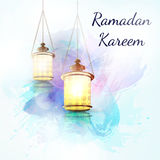 在一个平的样式的赖买丹月Kareem灯笼 免版税库存照片