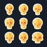 在一个平的样式设置的头骨象 免版税图库摄影