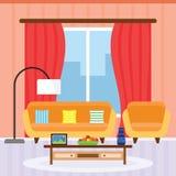 在一个平的设计的客厅内部 免版税库存照片