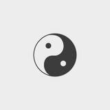 在一个平的设计的尹杨象在黑颜色 向量例证EPS10 免版税库存照片