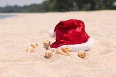 在一个平静的海滩的热带圣诞节 免版税库存照片