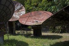 在一个庭院里放弃的大卫星盘在菲律宾 免版税库存图片
