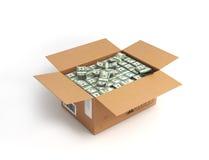 在一个开放箱子的金钱, 图库摄影