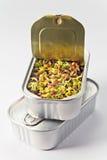 在一个开放罐头的发芽的种子 库存图片