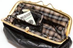 在一个开放钱包是有美元的钱包 库存图片