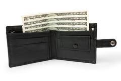 在一个开放黑皮革钱包的金钱 库存图片