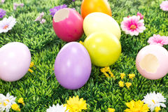 在一个开花的草甸的五颜六色的复活节彩蛋 免版税图库摄影