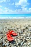 在一个异乎寻常的海滩的凉鞋 库存图片
