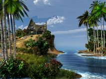 在一个异乎寻常的海岛上的小屋 免版税库存照片