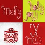 在一个当代五颜六色的瓦片设计的圣诞卡与手工制造甜Lolli字体和礼物盒 库存图片